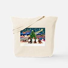 XmasMagic/3 Shelties(t3) Tote Bag