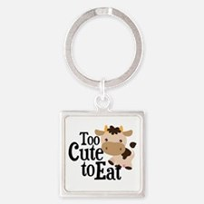 Vegan Cow Square Keychain