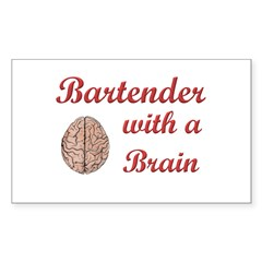 Bartender With Brain Rectangle Decal