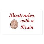 Bartender With Brain Rectangle Sticker