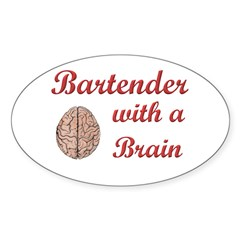 Bartender With Brain Oval Decal