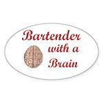 Bartender With Brain Oval Sticker