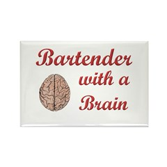 Bartender With Brain Rectangle Magnet