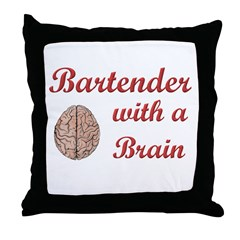 Bartender With Brain Throw Pillow