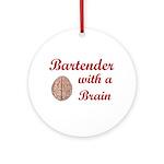 Bartender With Brain Ornament (Round)