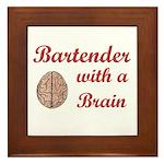 Bartender With Brain Framed Tile