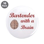 "Bartender With Brain 3.5"" Button (10 pack)"