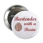 """Bartender With Brain 2.25"""" Button"""