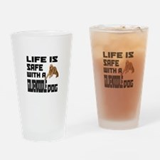 Life Is Safe With A Goldendoodle Drinking Glass