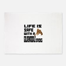 Life Is Safe With A Goldendoodle 5'x7'Area Rug