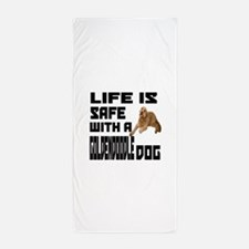 Life Is Safe With A Goldendoodle Beach Towel