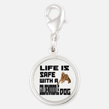 Life Is Safe With A Goldendood Silver Round Charm