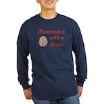 Bartender With Brain Long Sleeve Dark T-Shirt
