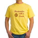 Bartender With Brain Yellow T-Shirt