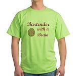 Bartender With Brain Green T-Shirt