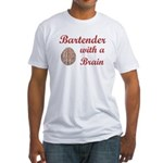 Bartender With Brain Fitted T-Shirt