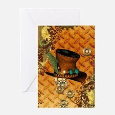 Steampunk, hat with clocks and gears Greeting Card