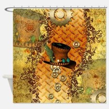Steampunk, hat with clocks and gears Shower Curtai