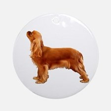 Ruby Cavalier King Charles Spaniel Round Ornament