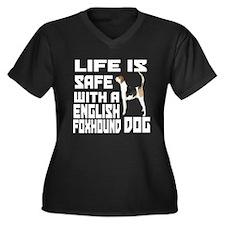 Life Is Safe Women's Plus Size V-Neck Dark T-Shirt