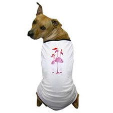 Three Pink Christmas Flamingo Dog T-Shirt