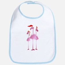 Three Pink Christmas Flamingo Bib
