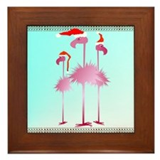 Three Pink Christmas Flamingo Framed Tile