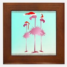 Three Pink Christmas Flamingo Framed Tile