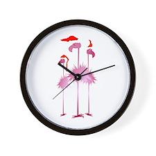 Three Pink Christmas Flamingo Wall Clock