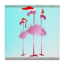 Three Pink Christmas Flamingo Tile Coaster