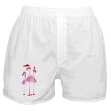 Three Pink Christmas Flamingo Boxer Shorts