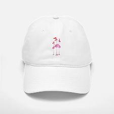 Three Pink Christmas Flamingo Baseball Baseball Cap