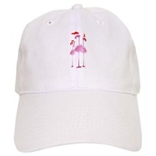 Three Pink Christmas Flamingo Baseball Cap