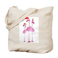 Three Pink Christmas Flamingo Tote Bag