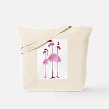 Three Pink Christmas Flamingo Tote Bag