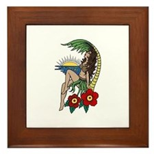 Hula Girl Framed Tile