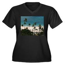HAWAII Women's Plus Size V-Neck Dark T-Shirt