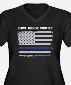 Unique Thin blue line Women's Plus Size V-Neck Dark T-Shirt