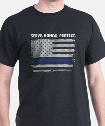 Unique Blue line police T-Shirt