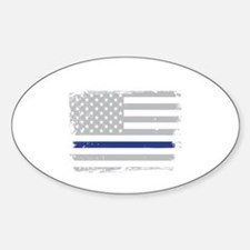 Thin blue line Sticker (Oval)