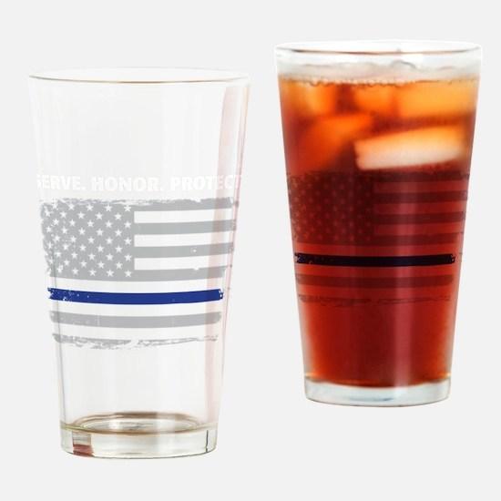 Cute Blue line Drinking Glass
