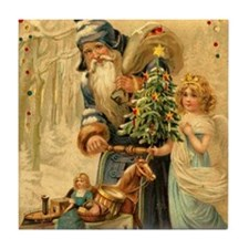 Santa Claus ~ Blue Robe ~ & Angel Tile Coaster