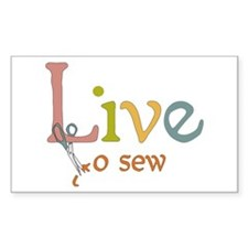 Live To Sew Rectangle Decal