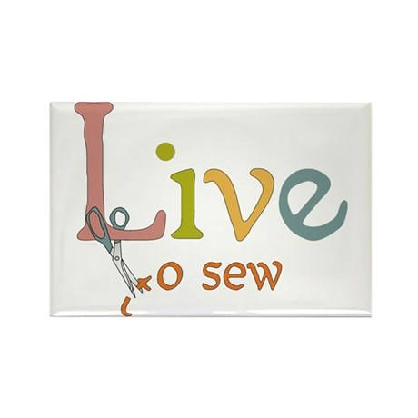 Live To Sew Rectangle Magnet (10 pack)