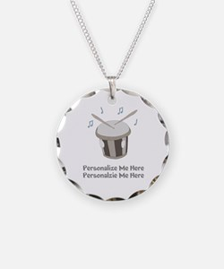 Personalized Drum Necklace Circle Charm