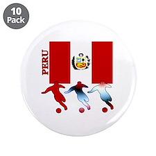 """Peru Soccer 3.5"""" Button (10 pack)"""