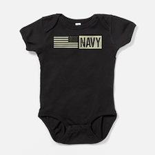 U.S. Navy: Military Black Backwards Flag Baby Body