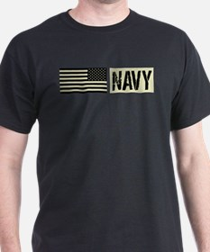 U.S. Navy: Military Black Backwards Flag T-Shirt