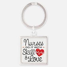 Funny Nurse Square Keychain