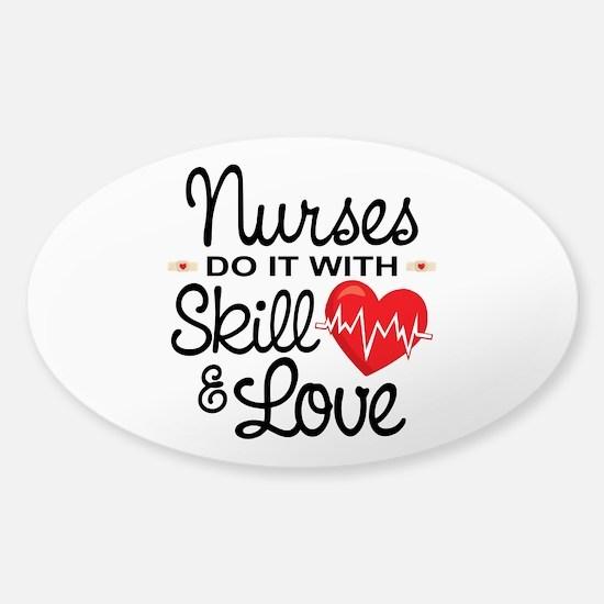 Funny Nurse Sticker (Oval)
